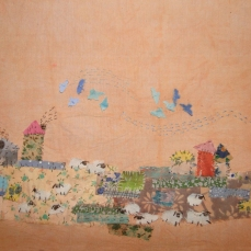The Village | Patch work with cloth | 20.5 x 31.5 cm | $ 450
