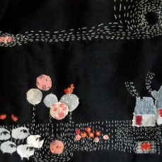 Three foxes | Patch work with cloth | 18.5 x 32 cm | $ 450
