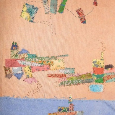 The Kite | Patch work with cloth | 22 x 30 cm | $ 450