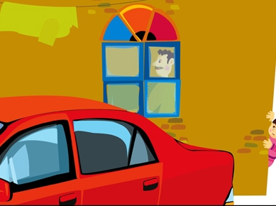 My Father's Car and I | Illustration for children book | Digital Technique