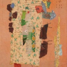 The Village | Patch work with cloth | 14 x 35.5 cm | $ 400