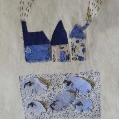 The Village | Patch work with cloth | 12 x 18 cm | $150