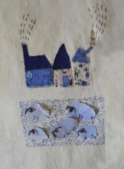 The Village | Patch work with cloth | 12 x 18 cm | $110
