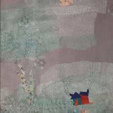 Village In The Fog | Patch work with cloth | 24.5 x 40 cm | $350