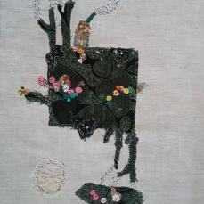 Evening | Patch work with cloth | 20 x 39 cm | $ 400