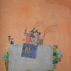 The Village | Patch work with cloth | 26 x 34 cm | $ 450