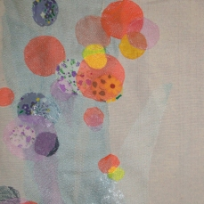 Circles | Patch work with cloth | 29 x 40 cm | $ 300