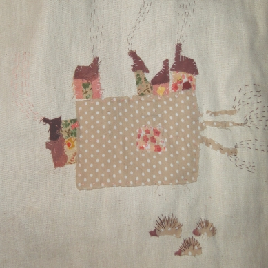 The Village and Hedgehogs | Patch work with cloth | 25 x 20.5 cm | $250
