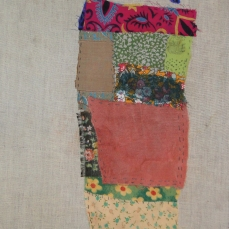 Cypress and the bird | Patch work with cloth | 18 x 45 cm | $450