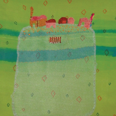 Iranian Garden | Patch work with cloth | 24 x 39 cm | $ 450