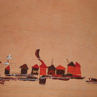 The Village | Patch work with cloth | 20 x 30 cm | $ 350