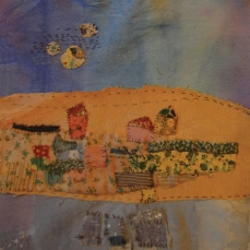 The Village | Patch work with cloth | 20 x 25 cm | $ 300