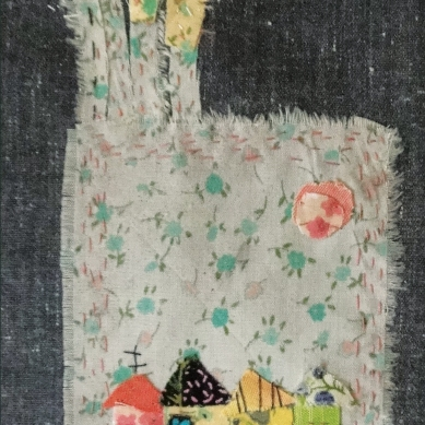 Iranian Garden | Patch work with cloth | 15 x 21 cm | $ 200